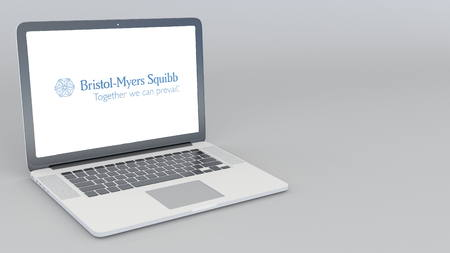 Opening and closing laptop with Bristol-Myers Squibb logo. 4K editorial 3D rendering