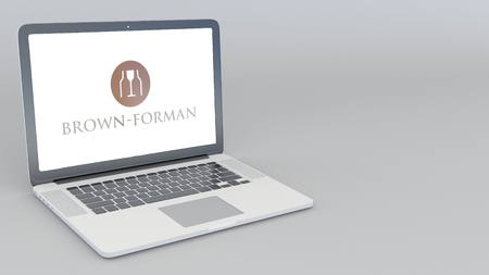 Opening and closing laptop with Brown-Forman logo. 4K editorial 3D rendering