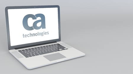 Opening and closing laptop with CA Technologies logo. 4K editorial 3D rendering