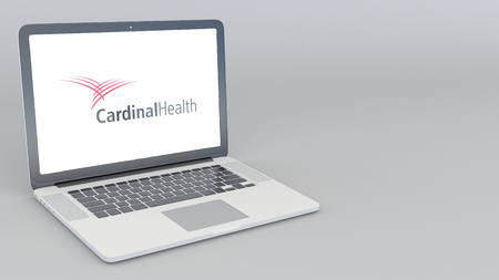 Opening and closing laptop with Cardinal Health logo. 4K editorial 3D rendering