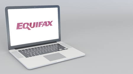 Opening and closing laptop with Equifax logo. 4K editorial 3D rendering