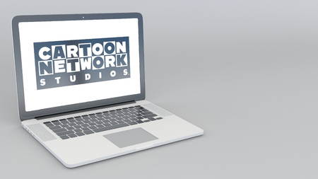 Opening and closing laptop with Cartoon Network Studios logo. 4K editorial 3D rendering