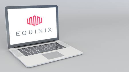 Opening and closing laptop with Equinix logo. 4K editorial 3D rendering