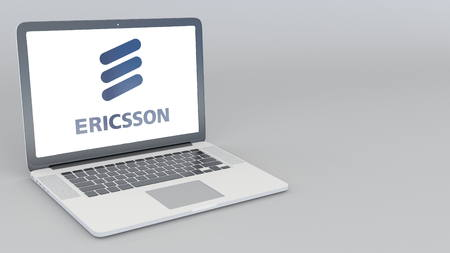 Opening and closing laptop with Ericsson logo. 4K editorial 3D rendering