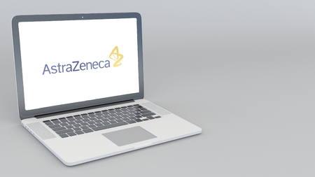 Opening and closing laptop with AstraZeneca logo. 4K editorial 3D rendering Redakční