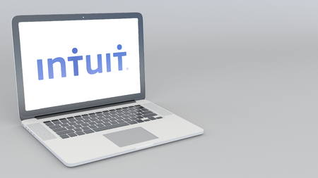 Opening and closing laptop with Intuit logo. 4K editorial 3D rendering