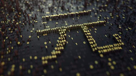 Chinese yuan CNY sign made of golden numbers. 3D rendering