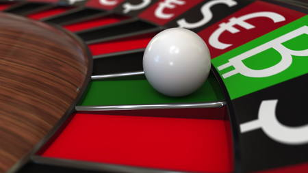 Casino roulette wheel hits Bitcoin BTC sign and different currency symbols. Investment strategy concept. 3D rendering