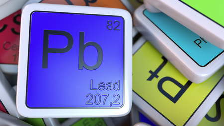 Lead Pb block on the pile of periodic table of the chemical elements blocks. 3D rendering