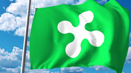 Sventolando la bandiera della Lombardia, una regione d'Italia. Rendering 3D Archivio Fotografico