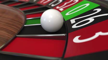 Casino roulette wheel ball hits 26 black. 3D rendering