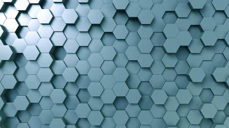 抽象的な青い六角形の背景、3D レンダリング