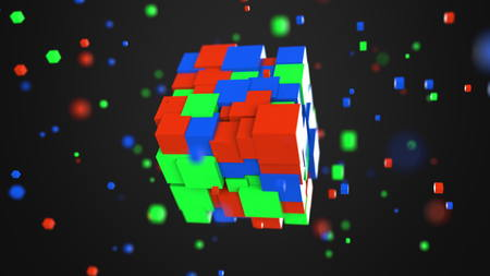 Multiple red, green and blue cubes. RGB color model or 3D model concepts, 3D rendering
