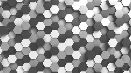 Abstract black and white hexagonal background, 3D rendering Stok Fotoğraf