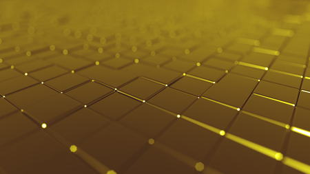 Golden tiles background, 3D rendering