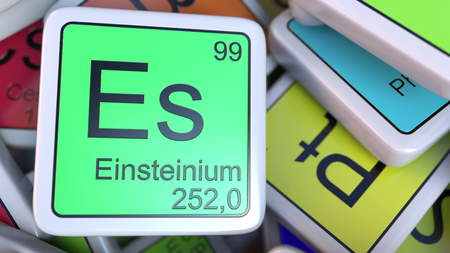 Einsteinium Es block on the pile of periodic table of the chemical elements blocks. 3D rendering