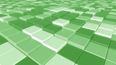 正方形の緑色のタイルの背景、3D レンダリング