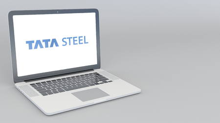 Opening and closing laptop with Tata Steel Limited logo. Editorial 3D rendering