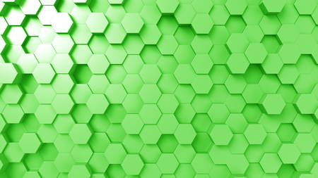 Abstract green hexagons, 3D rendering Stock Photo