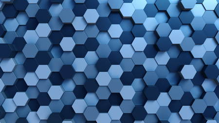 Moving blue hexagons background. 3D rendering 写真素材