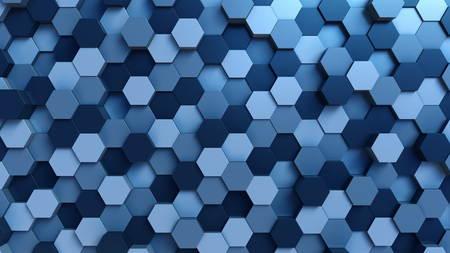 Moving blue hexagons background. 3D rendering Stok Fotoğraf