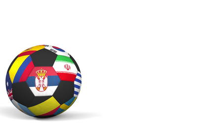 Football ball featuring different national teams accents flag of Serbia. 3D rendering