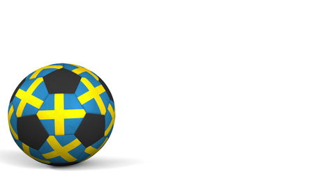 Football ball featuring flags of Sweden. 3D rendering Stock Photo