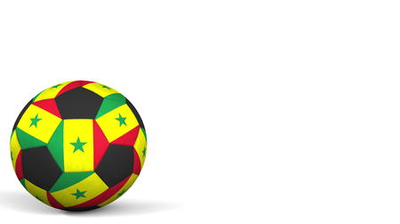 Football ball featuring flags of Senegal. 3D rendering
