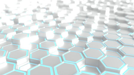 Futuristic silver and blue hexagonal prisms background, 3D rendering