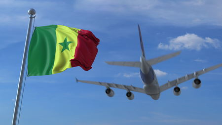 Airplane flying over waving flag of Senegal. 3D rendering