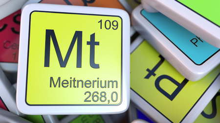 Meitnerium Mt block on the pile of periodic table of the chemical elements blocks. 3D rendering