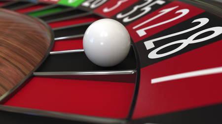 Casino roulette wheel ball hits 28 twenty-eight black. 3D rendering