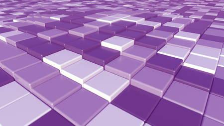 紫色の正方形のレンガの背景、3 D レンダリング