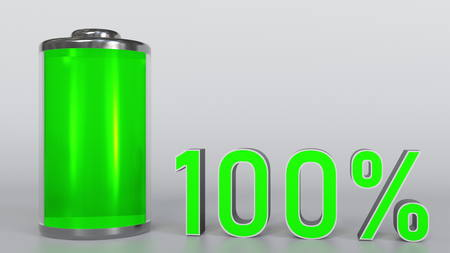 Fully charged battery. 3D rendering Foto de archivo
