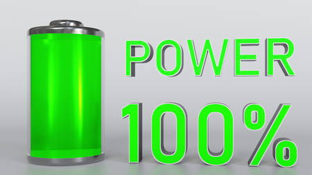Charging battery indicator 3D rendering Stock Photo
