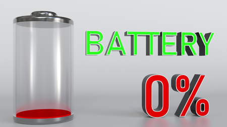 Discharged battery indicator, 3D rendering Banco de Imagens