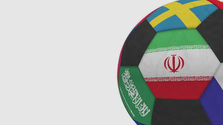 Football ball featuring different national teams accents flag of Iran. 3D rendering Stock Photo