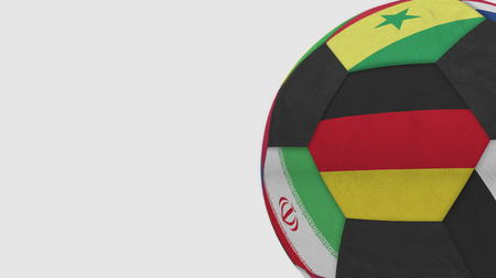 Football ball featuring different national teams accents flag of Germany. 3D rendering Фото со стока
