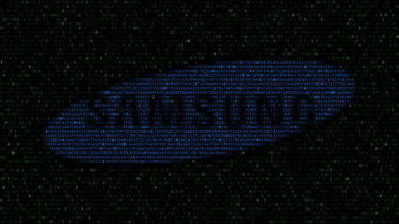 Samsung logo made of hexadecimal symbols on computer screen. Editorial 3D rendering