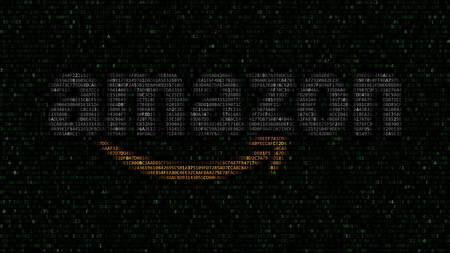 Amazon.com logo made of hexadecimal symbols on computer screen. Editorial 3D rendering Editorial