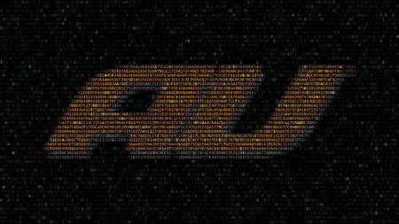 au mobile phone company logo made of hexadecimal symbols on computer screen. Editorial 3D rendering Editorial