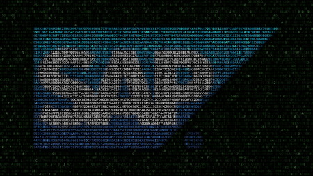 SAP SE logo made of hexadecimal symbols on computer screen. Editorial 3D rendering