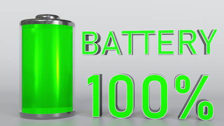 Fully charged battery indicator, 3D rendering