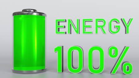 Charged battery. Energy indicator 3D