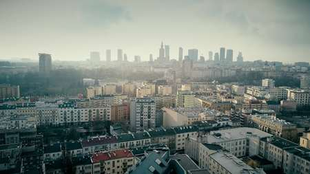 Warsaw skyline aerial shot, Poland Stock Photo