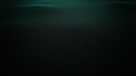 Cyan wavy surface made of balls, 3D rendering