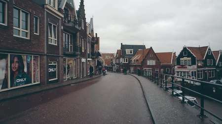 VOLENDAM, NETHERLANDS - DECEMBER 30, 2017. Traditional Dutch town street