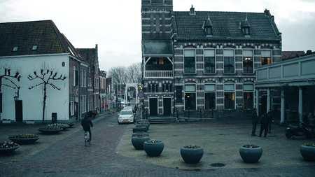 EDAM, NETHERLANDS - DECEMBER 30, 2017. Traditional Dutch town street view