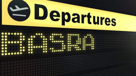 Flight to Basra on international airport departures board. Travelling to Iraq conceptual 3D rendering