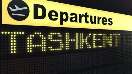 Flight to Tashkent on international airport departures board. Travelling to Uzbekistan conceptual 3D rendering